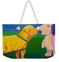 Weekender Tote Bag featuring the painting Puppy Say Hi by Donald J Ryker III