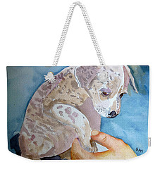 Puppy Shaking Hands Weekender Tote Bag