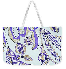 Weekender Tote Bag featuring the drawing Purple 1 by Carole Brecht