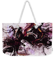 Weekender Tote Bag featuring the painting Purple Abstract Painting / Surrealist Art by Ayse Deniz