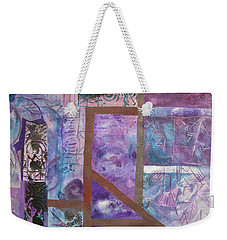 Weekender Tote Bag featuring the mixed media Purple Abstract by Riana Van Staden