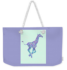 Purple And Aqua Running Baby Giraffe Weekender Tote Bag by Jane Schnetlage