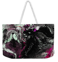 Weekender Tote Bag featuring the painting Purple And Black Minimalist / Abstract Painting by Ayse Deniz