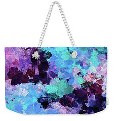 Weekender Tote Bag featuring the painting Purple And Blue Abstract Art by Ayse Deniz