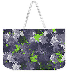 Weekender Tote Bag featuring the digital art Purple And Green Leaves by Methune Hively