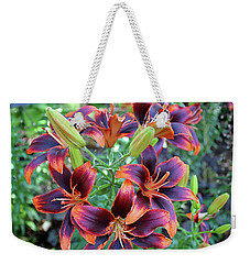 Purple And Orange Tiger Lily Weekender Tote Bag