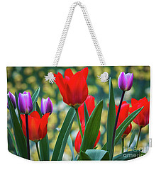 Purple And Red Tulips Weekender Tote Bag by Mitch Shindelbower