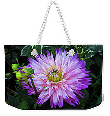 Purple And White Dahlia Weekender Tote Bag