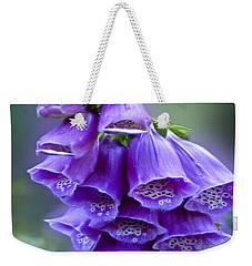 Purple Bell Flowers Foxglove Flowering Stalk Weekender Tote Bag by Carol F Austin
