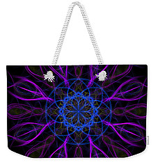 Weekender Tote Bag featuring the photograph Purple Blue Kaleidoscope Square by Adam Romanowicz