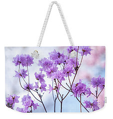 Weekender Tote Bag featuring the photograph Purple Blue Romance by Jenny Rainbow