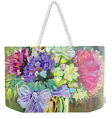 Weekender Tote Bag featuring the painting Purple Bow by Rosemary Aubut