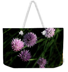 Weekender Tote Bag featuring the photograph Purple Chives by Angela Rath