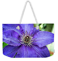 Weekender Tote Bag featuring the photograph Purple Clematis by Chrystal Mimbs
