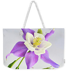 Weekender Tote Bag featuring the photograph  Purple Columbine by Ann Bridges