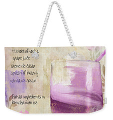 Purple Cow Mixed Cocktail Recipe Sign Weekender Tote Bag by Mindy Sommers