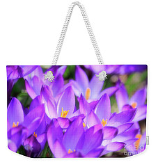 Purple Crocus Flowers Weekender Tote Bag by Charline Xia