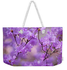Weekender Tote Bag featuring the photograph Purple Delight. Spring Watercolors by Jenny Rainbow