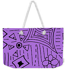 Weekender Tote Bag featuring the drawing purple Doodle Art by Patricia Cleasby