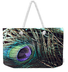 Purple Feather With Dark Background Weekender Tote Bag by Angela Murdock