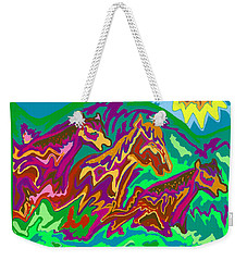 Purple Feathered Horses Weekender Tote Bag