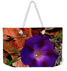 Weekender Tote Bag featuring the photograph Purple Flower Autumn Leaves by Roger Bester