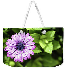 Purple Flower On Green Weekender Tote Bag