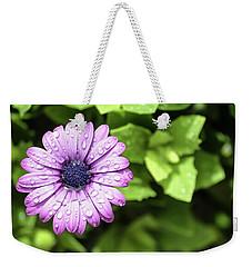 Purple Flower On Green Weekender Tote Bag