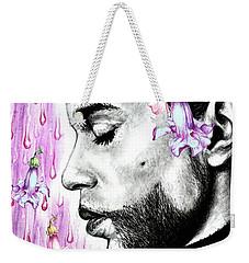 Purple Flower Rain  Prince, Roger Nelson Weekender Tote Bag by Heidi Kriel
