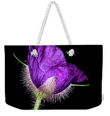 Weekender Tote Bag featuring the photograph Purple Flowering Raspberry by Barbara Bowen