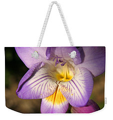 Purple Fresia Flower Weekender Tote Bag by Ralph A  Ledergerber-Photography