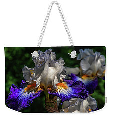Purple Fringed White Iris Weekender Tote Bag