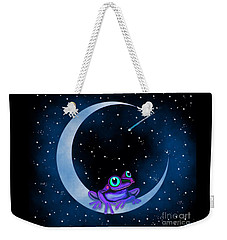 Weekender Tote Bag featuring the painting Purple Frog On A Crescent Moon by Nick Gustafson