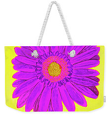 Purple  Gerbera On Yellow, Watercolor Weekender Tote Bag