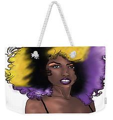 Weekender Tote Bag featuring the digital art Purple Girl by Jayvon Thomas