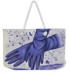 Weekender Tote Bag featuring the painting Purple Gloves by Kelly Mills