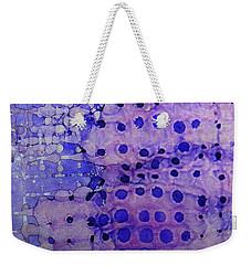 Weekender Tote Bag featuring the painting Purple Grid Ink #2 by Sarajane Helm