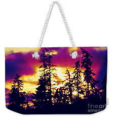 Weekender Tote Bag featuring the photograph Purple Haze Forest by Nick Gustafson