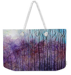 Weekender Tote Bag featuring the painting Purple Haze by Hailey E Herrera