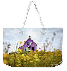 Purple House And Yellow Flowers Weekender Tote Bag
