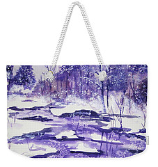 Weekender Tote Bag featuring the painting Purple Ice On Kaaterskill Creek by Ellen Levinson