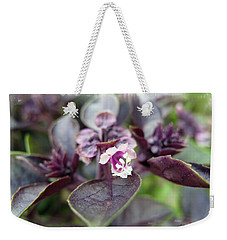 Weekender Tote Bag featuring the photograph Purple In Autumn by Joan  Minchak