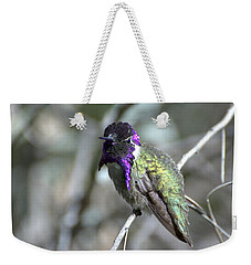Weekender Tote Bag featuring the photograph Purple Iridescence  by Fraida Gutovich