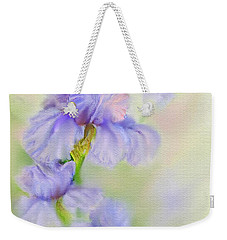 Weekender Tote Bag featuring the painting Purple Iris by Bonnie Willis
