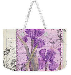 Weekender Tote Bag featuring the drawing Purple Iris by Cathie Richardson