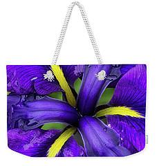 Purple Iris Centre Weekender Tote Bag