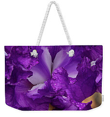 Weekender Tote Bag featuring the photograph Purple Iris Close Up by Jean Noren
