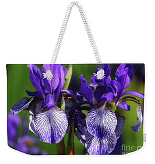 Weekender Tote Bag featuring the photograph Purple Iris Doubled by Rachel Cohen