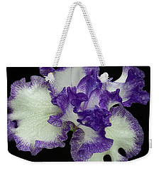 Weekender Tote Bag featuring the photograph Purple Iris Frills by Jean Noren