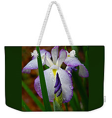 Purple Iris In Morning Dew Weekender Tote Bag